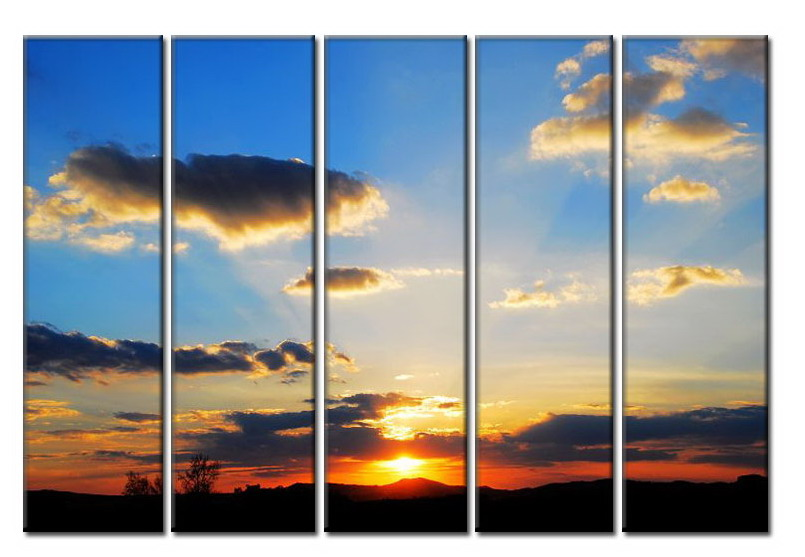 Modern Oil Paintings on canvas setting sun painting -set08009