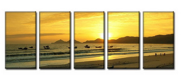 Modern Oil Paintings on canvas setting sun painting -set08020