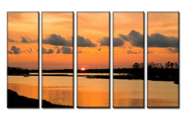 Modern Oil Paintings on canvas sunglow painting -set08034