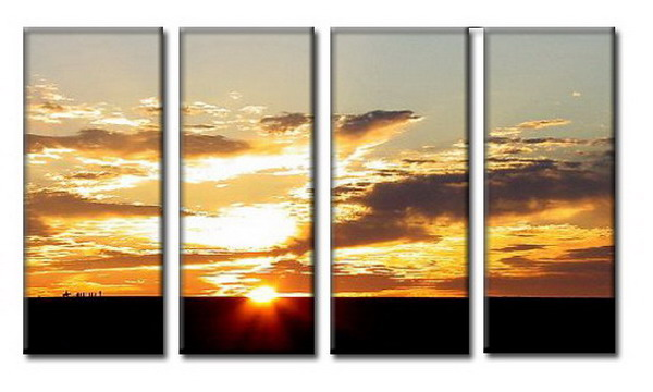 Modern Oil Paintings on canvas setting sun painting -set08064