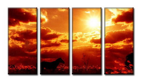 Modern Oil Paintings on canvas setting sun painting -set08065