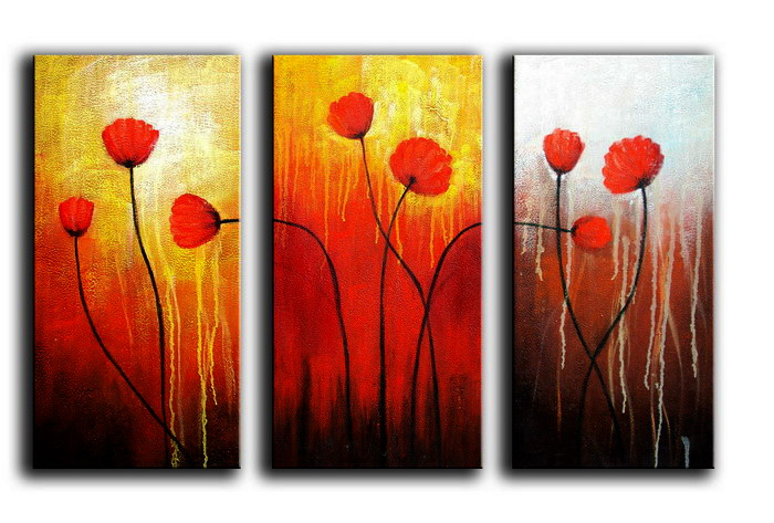 Modern Oil Paintings on canvas flower painting -set08078