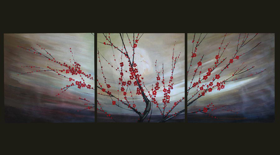 Modern Oil Paintings on canvas flower painting -set08083