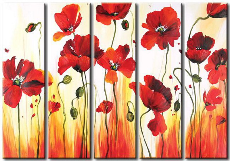 Modern Oil Paintings on canvas flower painting -set08089