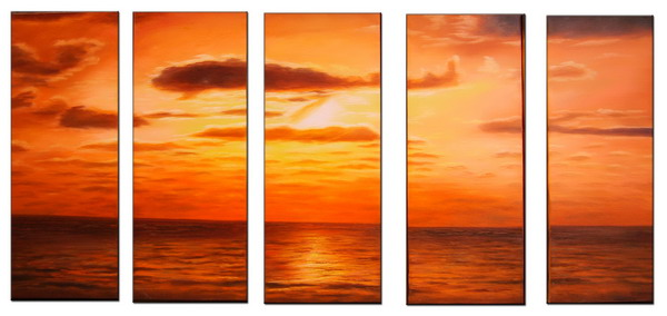Modern Oil Paintings on canvas sunset glow painting -set08142