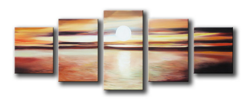 Modern Oil Paintings on canvas sunset glow painting -set08151