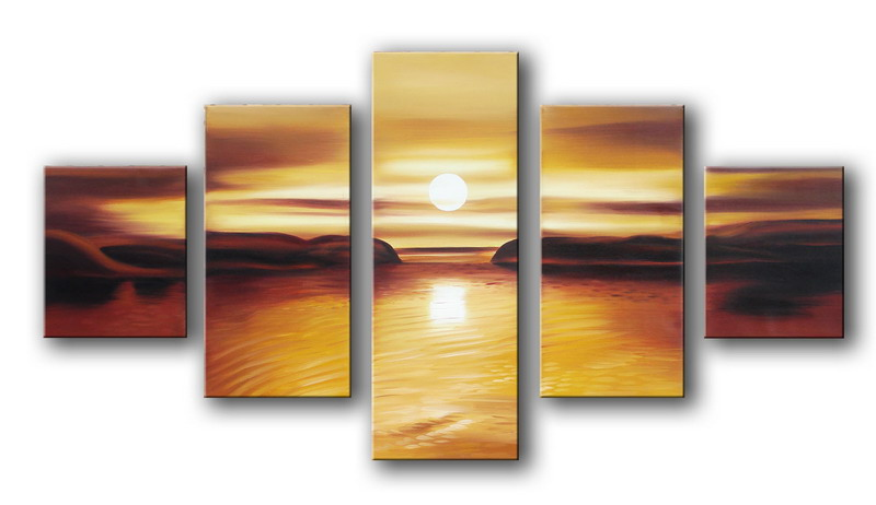 Modern Oil Paintings on canvas sunset glow painting -set08152