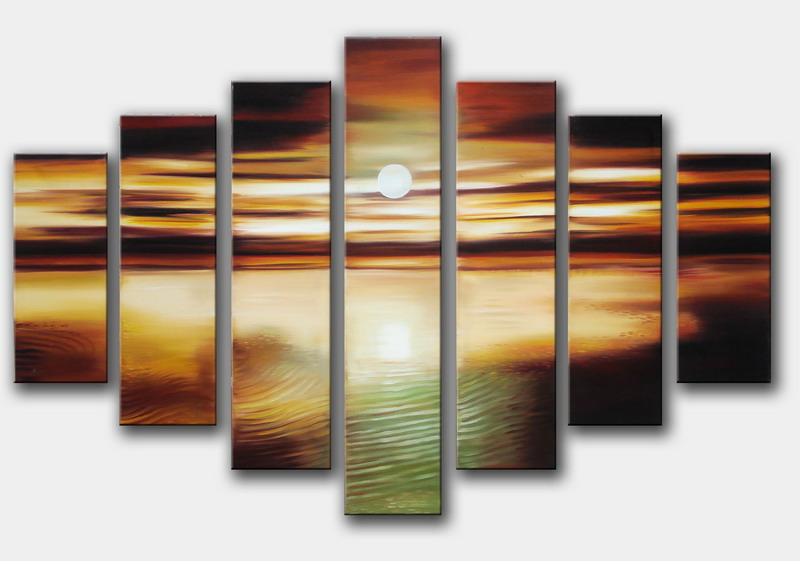Modern Oil Paintings on canvas sunset glow painting -set08154