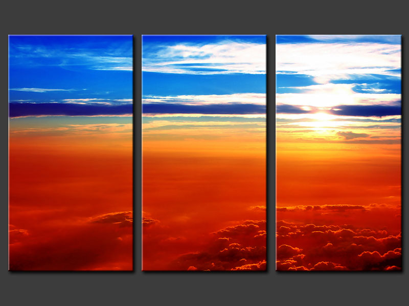Modern Oil Paintings on canvas sunset glow painting -set08169