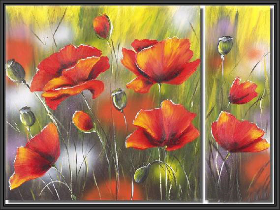 Modern Oil Paintings on canvas flower painting -set09025