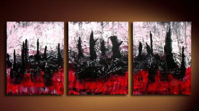 Modern Oil Paintings on canvas tree painting -set09051