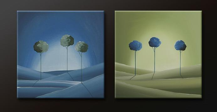 Modern Oil Paintings on canvas tree painting -set09157