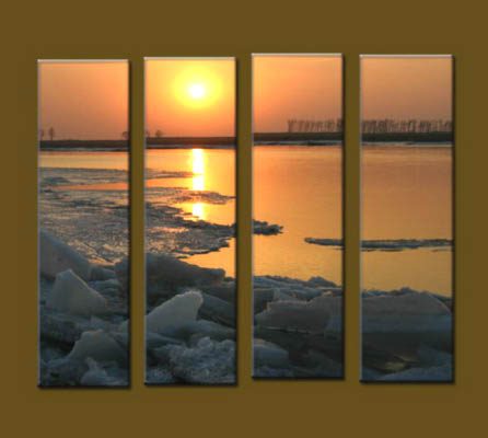 Modern Oil Paintings on canvas sunrise painting -set10051