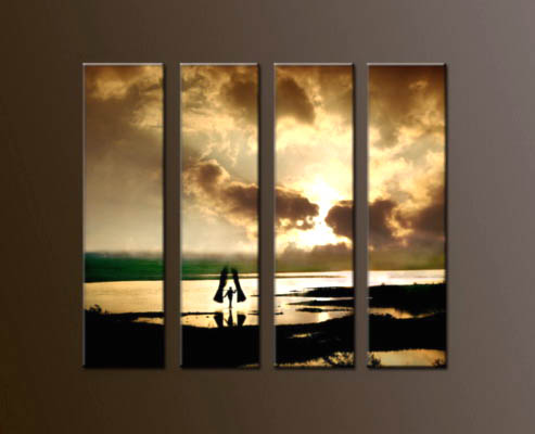 Modern Oil Paintings on canvas sunrise painting -set10054