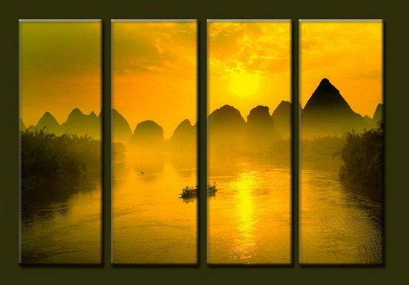 Modern Oil Paintings on canvas sunrise painting -set10056