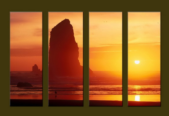 Modern Oil Paintings on canvas sunrise painting -set10058