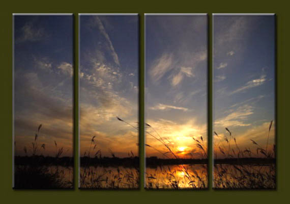 Modern Oil Paintings on canvas sunrise painting -set10063