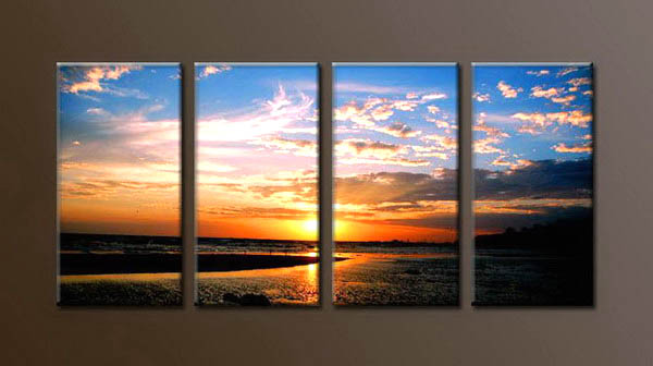 Modern Oil Paintings on canvas sunrise painting -set10075