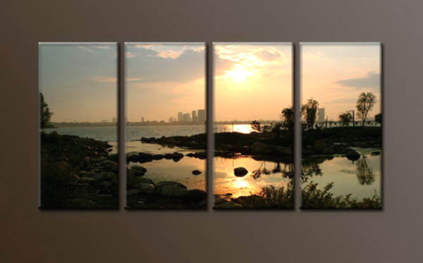 Modern Oil Paintings on canvas sunrise painting -set10078