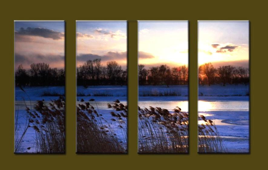 Modern Oil Paintings on canvas sunrise painting -set10090