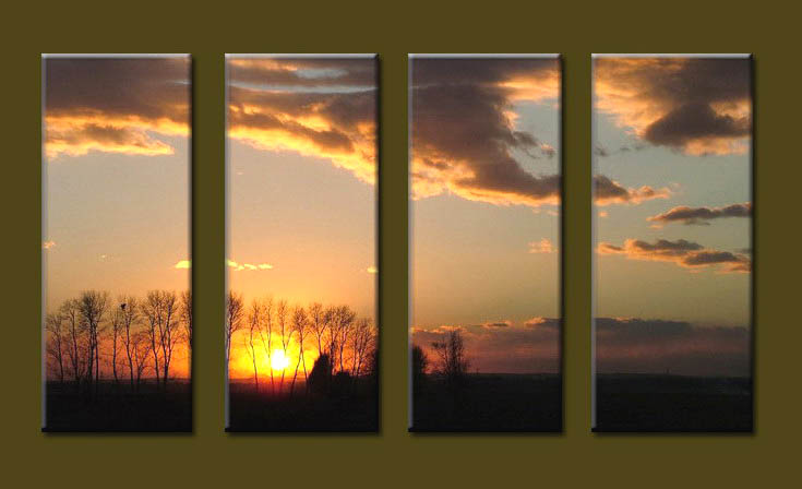 Modern Oil Paintings on canvas sunrise painting -set10092