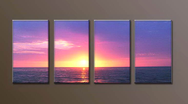 Modern Oil Paintings on canvas sunrise painting -set10105