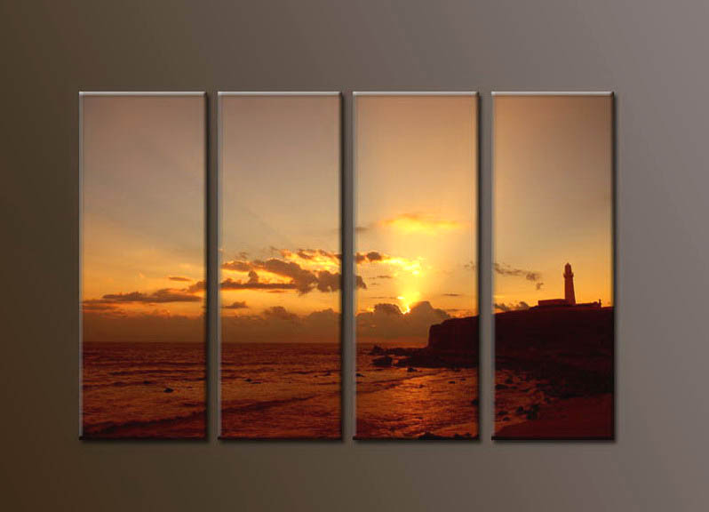Modern Oil Paintings on canvas sunrise painting -set10107