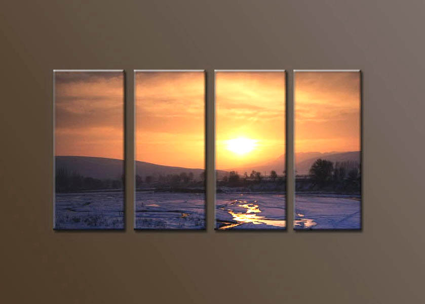 Modern Oil Paintings on canvas sunglow painting -set10118