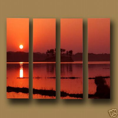 Modern Oil Paintings on canvas sunglow painting -set10121