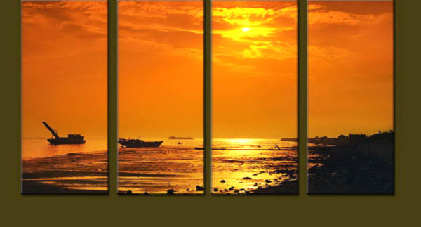 Modern Oil Paintings on canvas sunglow painting -set10123
