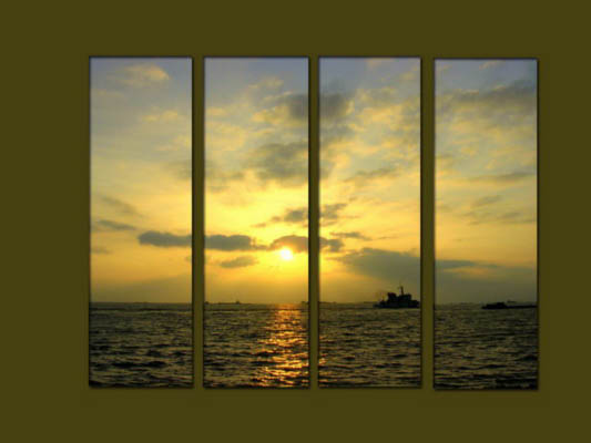 Modern Oil Paintings on canvas sunrise painting -set10127