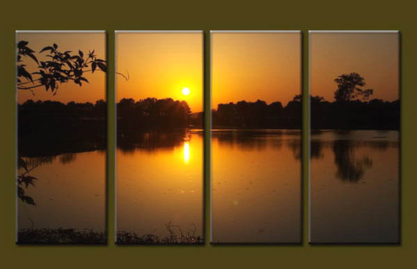 Modern Oil Paintings on canvas sunrise painting -set10128