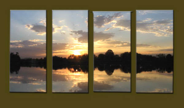Modern Oil Paintings on canvas sunrise painting -set10130