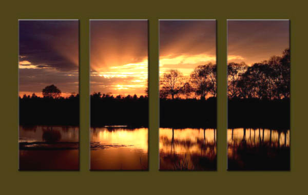 Modern Oil Paintings on canvas sunrise painting -set10131