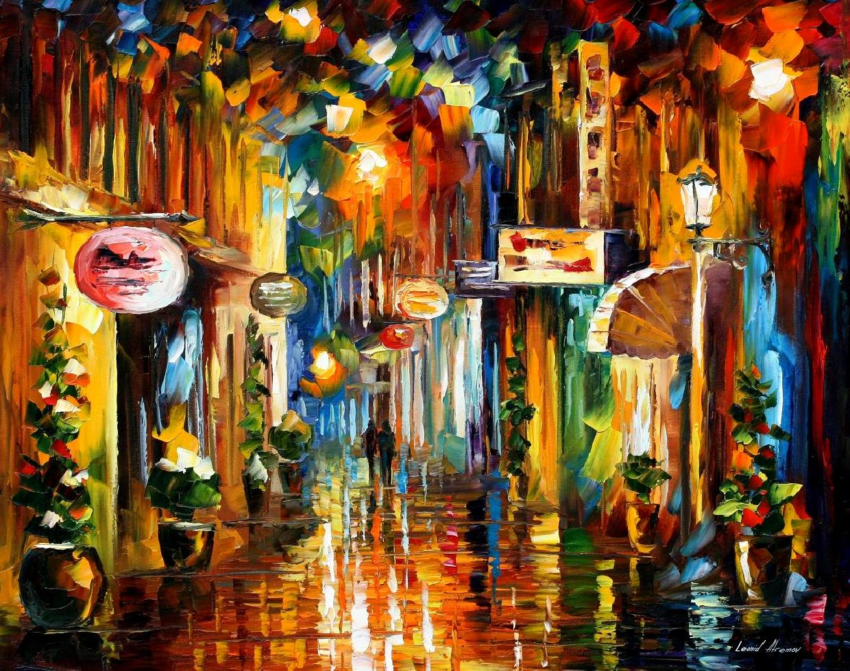 Modern impressionism palette knife oil painting City008