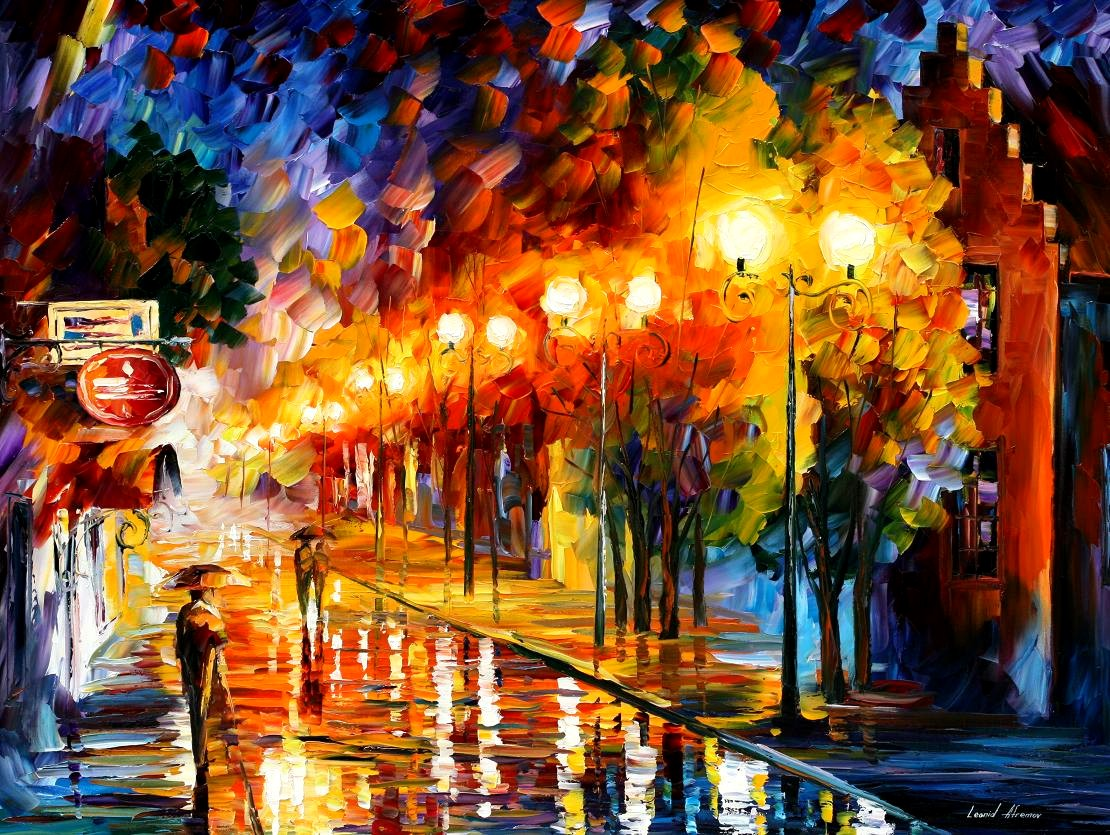 Modern impressionism palette knife oil painting City012