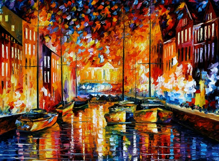 Modern impressionism palette knife oil painting City016