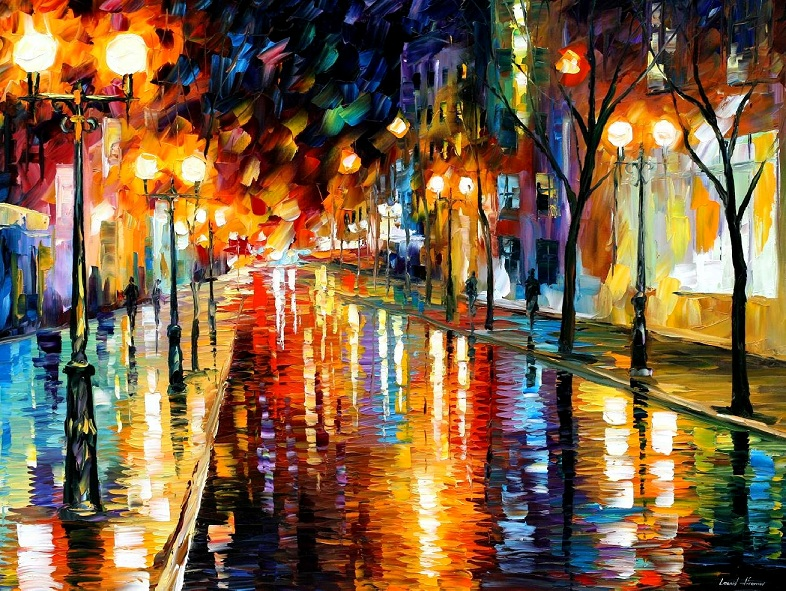 Modern impressionism palette knife oil painting City021