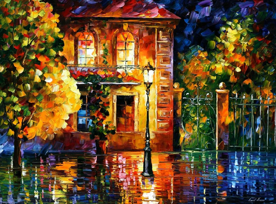 Modern impressionism palette knife oil painting City022