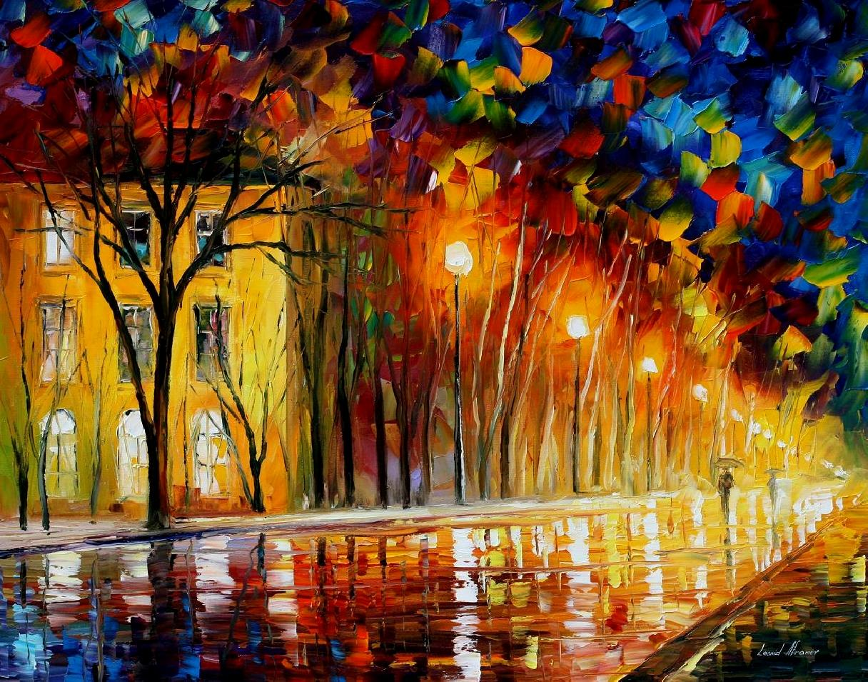Modern impressionism palette knife oil painting City029