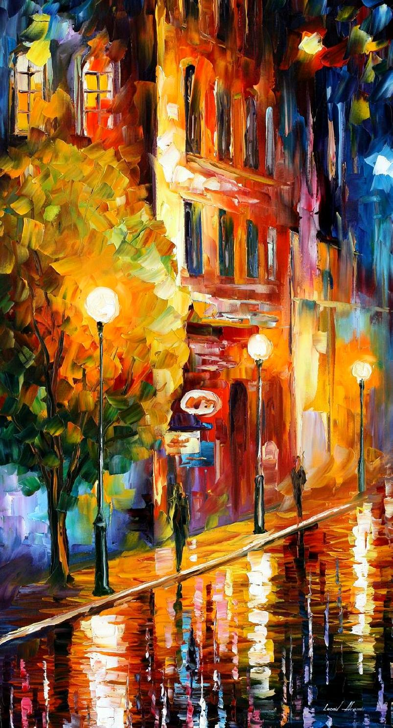 Modern impressionism palette knife oil painting City033