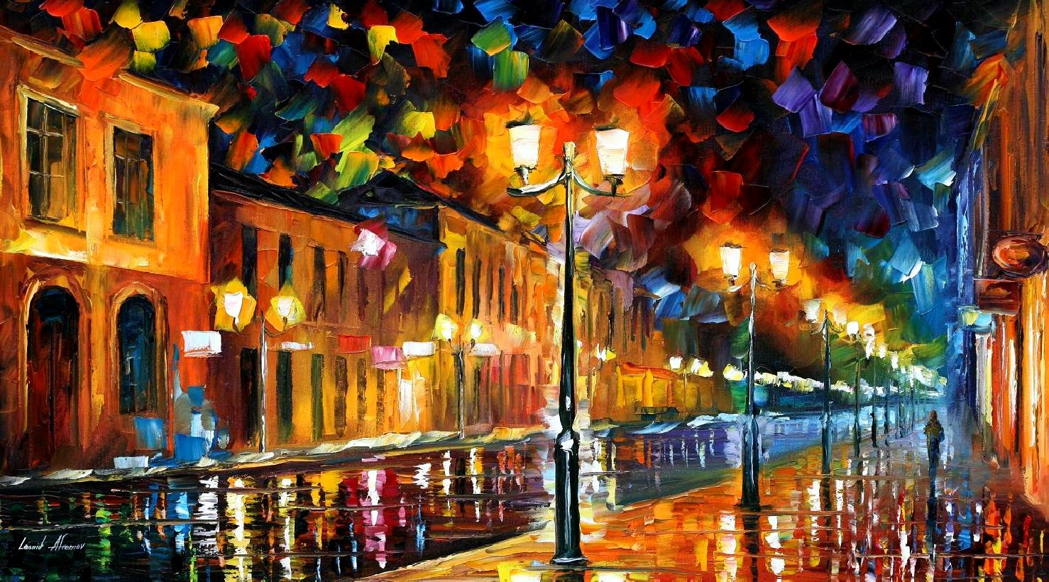 Modern impressionism palette knife oil painting City038