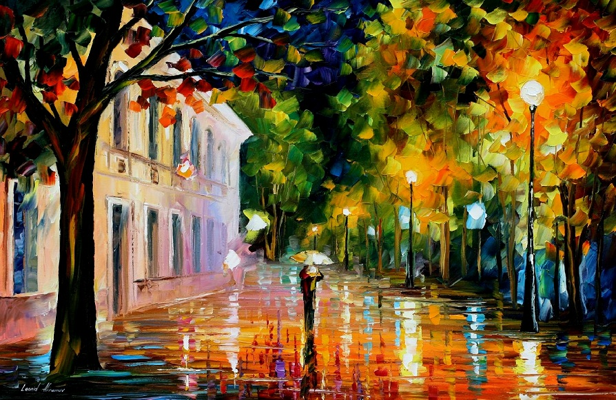 Modern impressionism palette knife oil painting City042