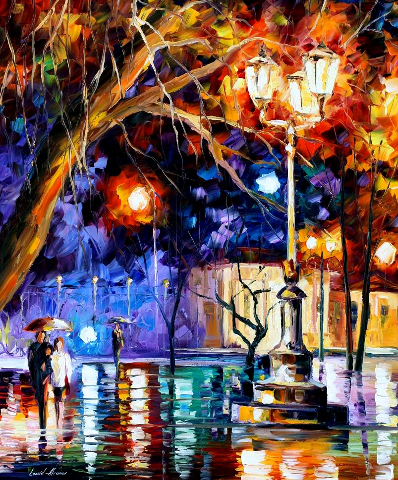 Modern impressionism palette knife oil painting City045