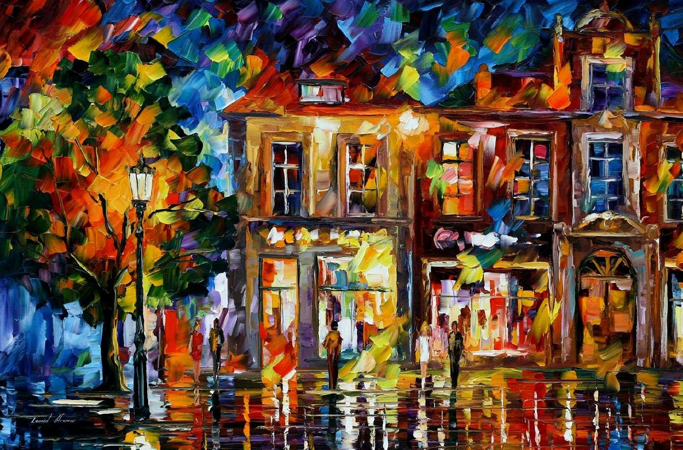Modern impressionism palette knife oil painting City047