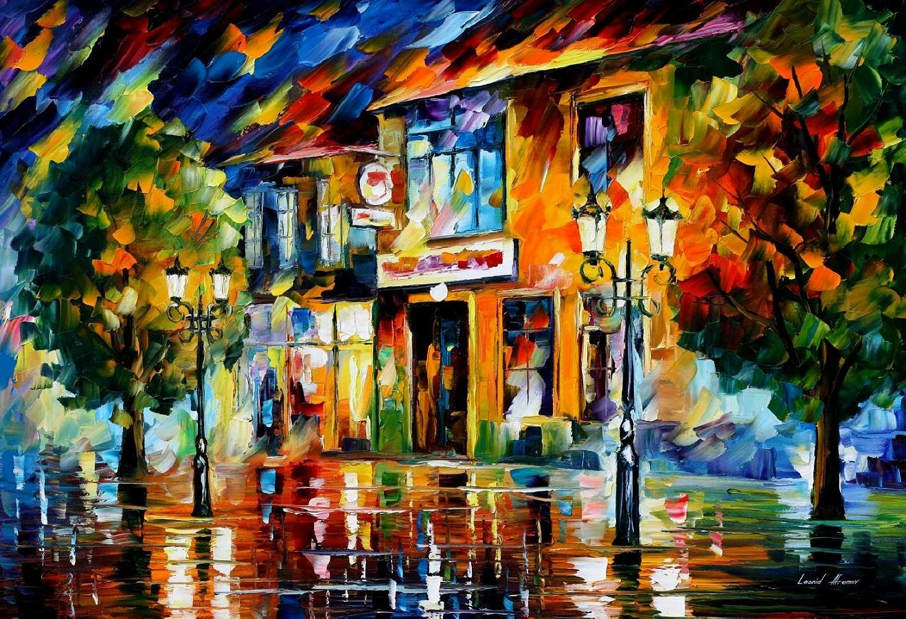 Modern impressionism palette knife oil painting City051