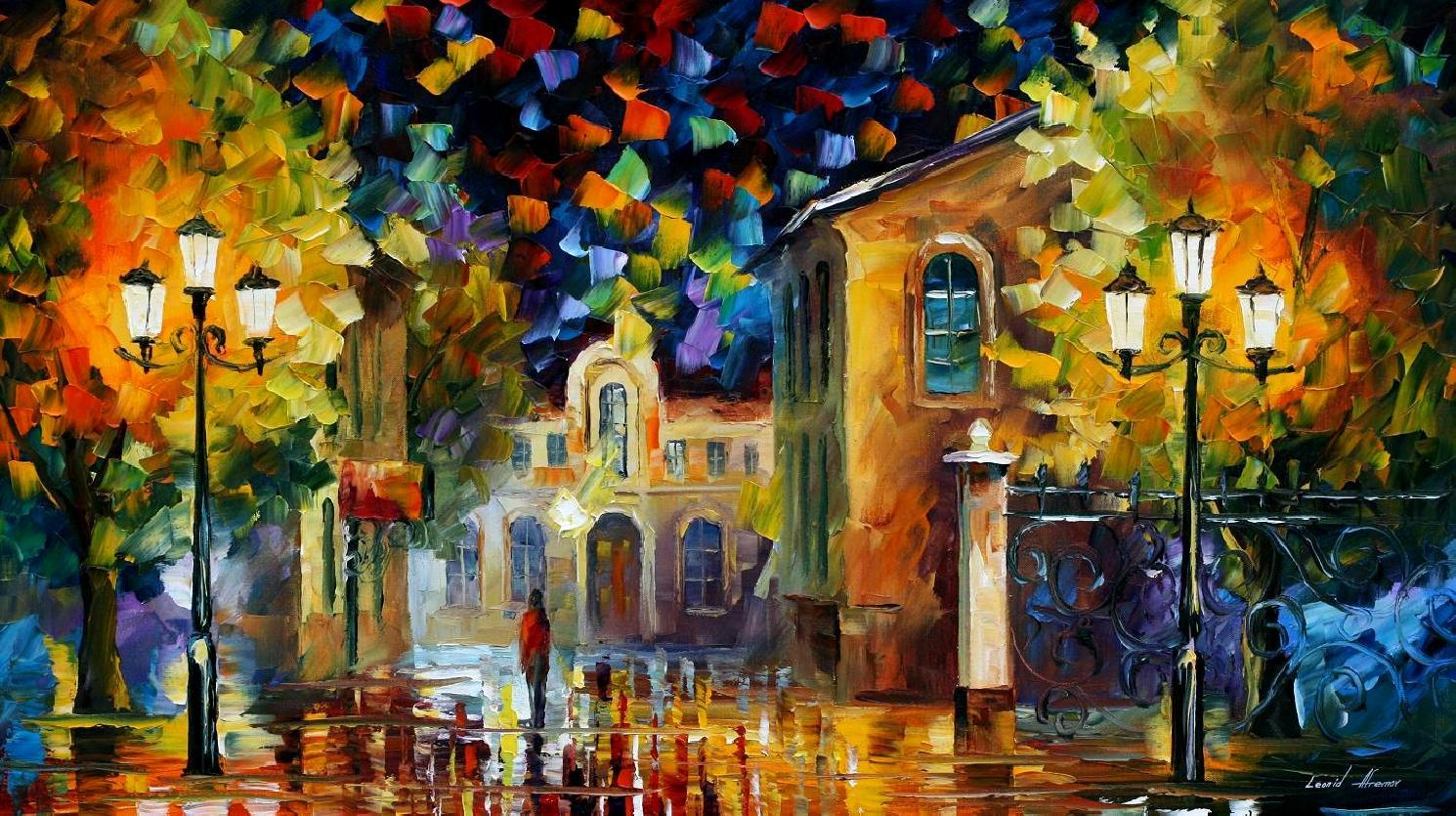 Modern impressionism palette knife oil painting City058