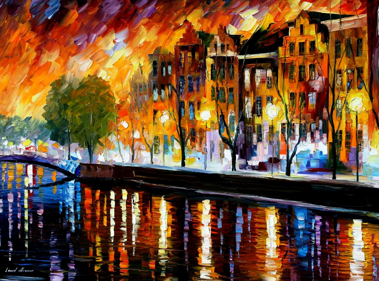 Modern impressionism palette knife oil painting City059