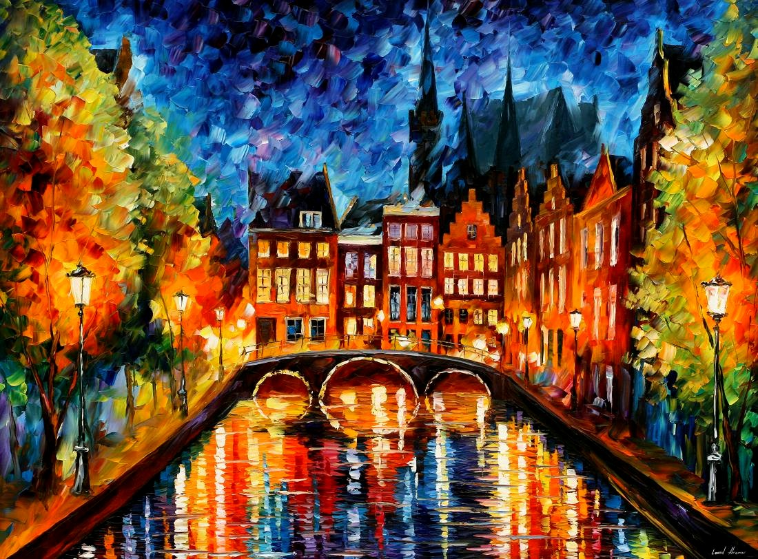 Modern impressionism palette knife oil painting City060