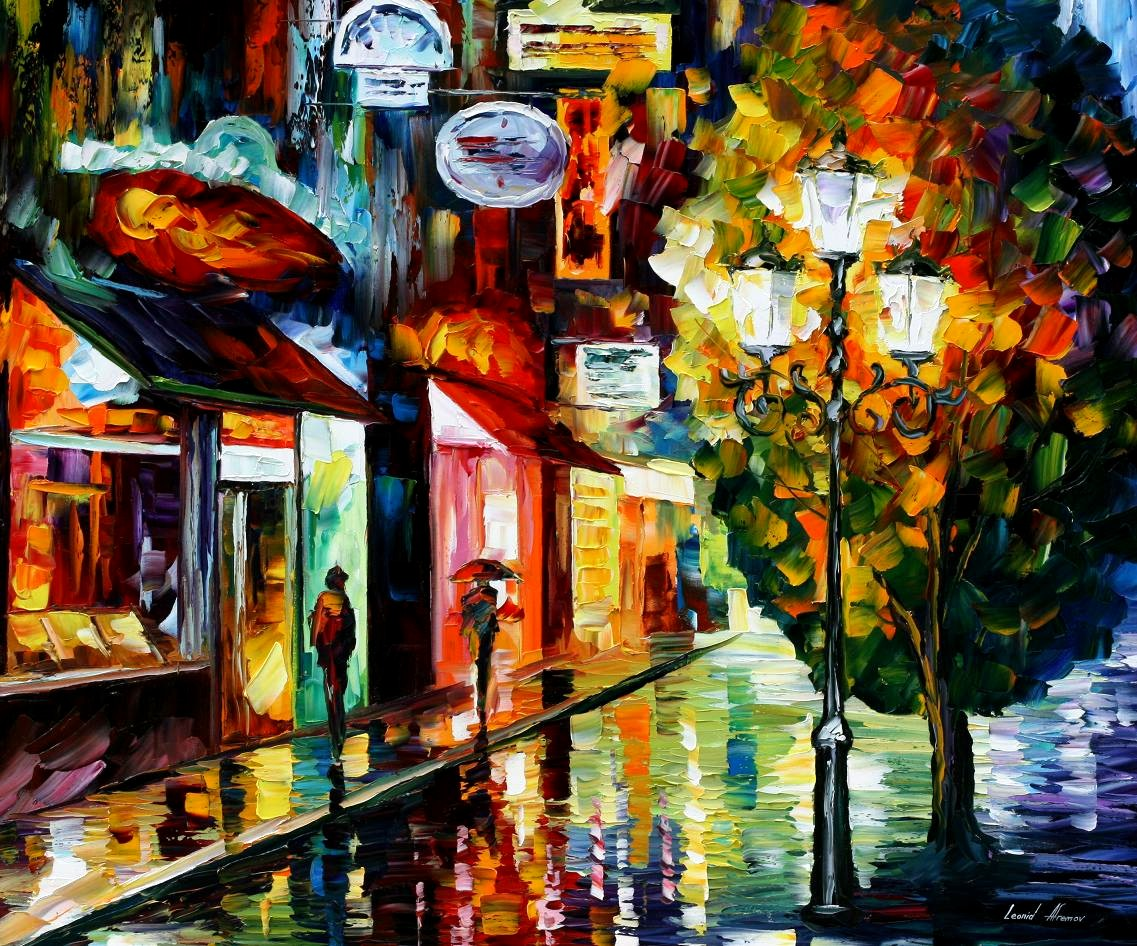 Modern impressionism palette knife oil painting City062